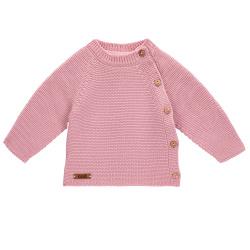 Button-front garter stitch sweater PALE PINK