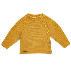 Button-front garter stitch sweater MUSTARD