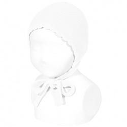 Garter sttich classic bonnet WHITE