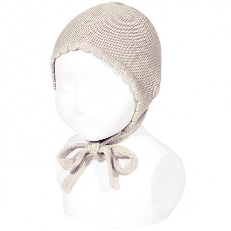 Garter sttich classic bonnet STONE