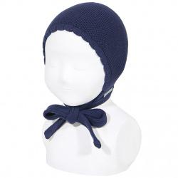 Bonnet point mousse en coton BLEU MARINE
