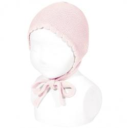 Bonnet point mousse en coton ROSE