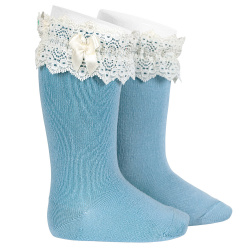 Lace trim knee socks with bow CLOUD