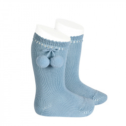 Perle knee high socks with pompoms CLOUD