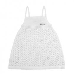 Spike stitch openwork dress WHITE