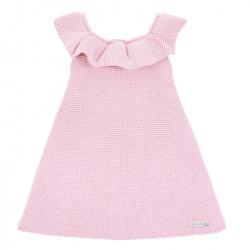 Garter stitch dress with flounces PINK