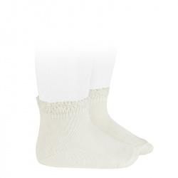 Ceremony short socks with openwork cuff CREAM