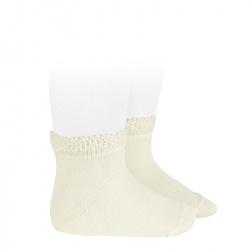 Ceremony short socks with openwork cuff BEIGE