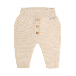 Garter stitch trousers with buttons LINEN
