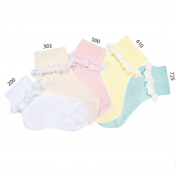 1x1 rib ankle socks, folded cuff with lace edging