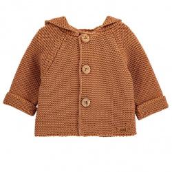 Boys garter stitch short coat CINNAMON