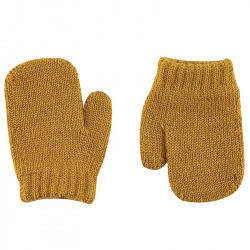 Merino wool-blend one-finger mittens CURRY