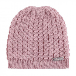 Baby knit hat with braids PALE PINK