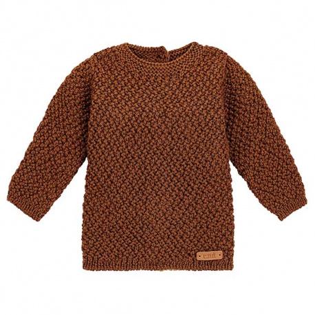 Merino blend sweater in micro relief CHOCOLATE