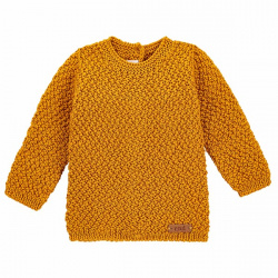 Merino blend sweater in micro relief CURRY