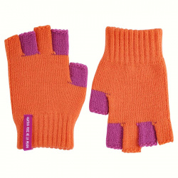 Bicolour fingerless gloves ORANGE