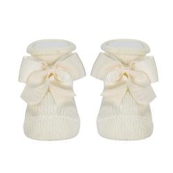 Baby warm cotton booties with grossgrainbow BEIGE