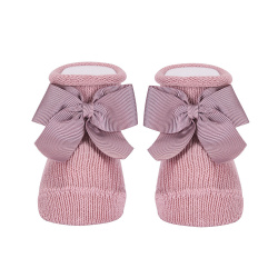 Baby warm cotton booties with grossgrainbow PALE PINK