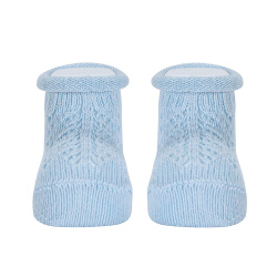 Baby warm cotton booties with front openwork BABY BLUE