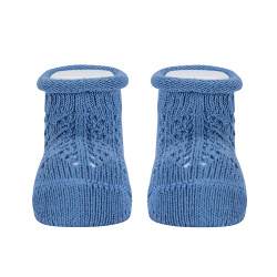 Baby warm cotton booties with front openwork FRENCH BLUE