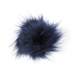 Hair clip with faux fur pompom NAVY BLUE