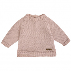 Merino blend flared sweater with links NUDE