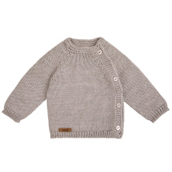 Merino blend button-front sweater OATMEAL