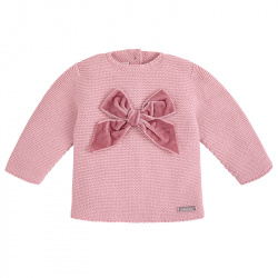 Garter stitch sweater with velvet bow PALE PINK