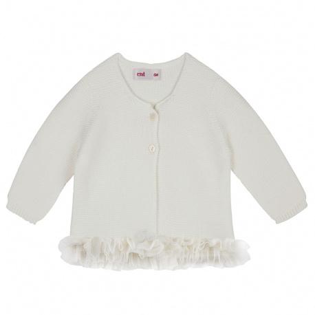 Garter stitch cardigan with tulle waist CREAM
