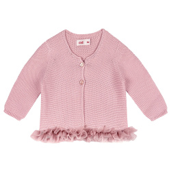 Garter stitch cardigan with tulle waist PALE PINK