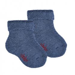 Merino wool-blend terry short socks w/folded cuff JEANS