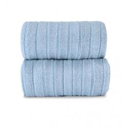 Merino wool-blend rib knee socks BLUISH