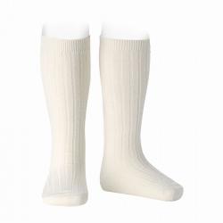 Merino wool-blend rib knee socks BEIGE