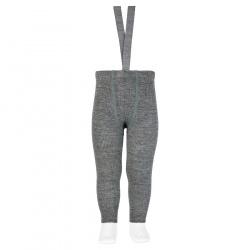 Merino wool-blend leggings w/elastic suspenders LIGHT GREY