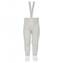 Merino wool-blend leggings w/elastic suspenders ALUMINIUM