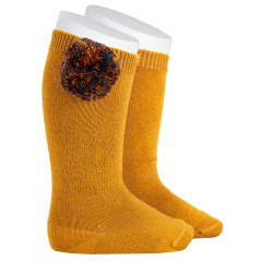 Wool knee-high socks with multicolour pompom CURRY