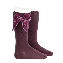Knee socks with side velvet bow BURDEAUX