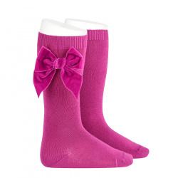 Knee socks with side velvet bow PETUNIA