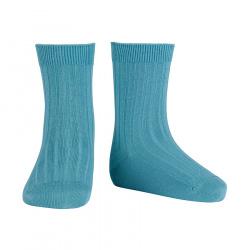 Basic rib short socks STONE BLUE