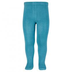 Plain stitch basic tights STONE BLUE