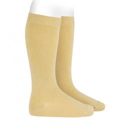 Plain stitch basic knee high socks BANANA