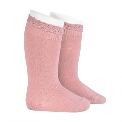 Knee socks with lace edging cuff PALE PINK
