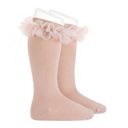 Tulle ruffle knee socks OLD ROSE