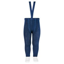 Merino wool-blend leggings w/elastic suspenders NAVY BLUE