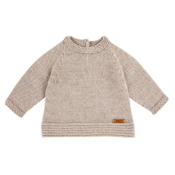 Merino blend flared sweater with links OATMEAL