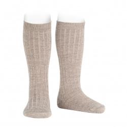 Merino wool-blend rib knee socks OATMEAL