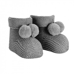 Garter stitch baby booties with pompoms LIGHT GREY