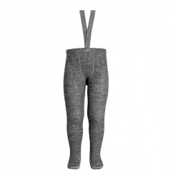 Merino wool-blend tights w/elastic suspenders LIGHT GREY