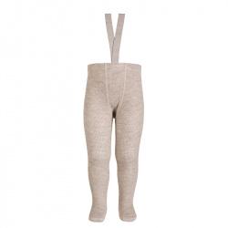 Merino wool-blend tights w/elastic suspenders OATMEAL