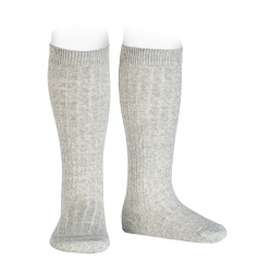 Merino wool-blend rib knee socks ALUMINIUM